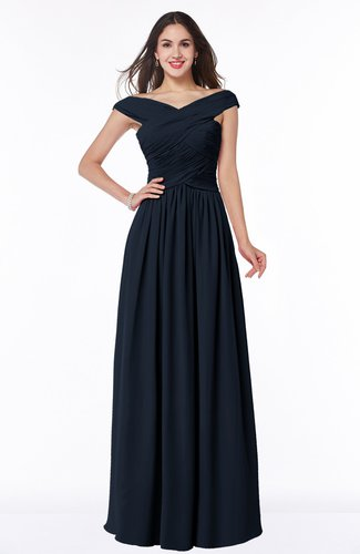 Navy Blue Traditional A-line Sleeveless Chiffon Floor Length Plus Size  Bridesmaid Dresses