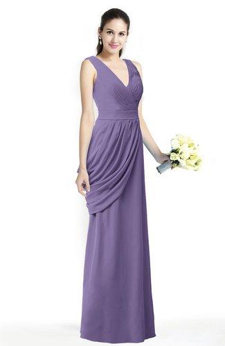 Mature A-line V-neck Chiffon Pleated Plus Size Bridesmaid Dresses