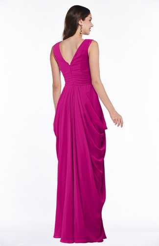 Hot Pink Mature Short Sleeve Chiffon Floor Length Pleated Plus Size  Bridesmaid Dresses