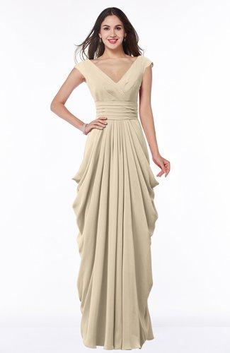 Mature Short Sleeve Chiffon Floor Length Pleated Plus Size Bridesmaid Dresses