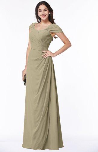 Mature A-line Sweetheart Short Sleeve Zip up Floor Length Plus Size Bridesmaid Dresses