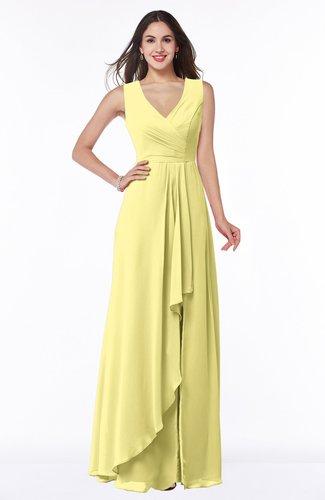 Modest A-line V-neck Zip up Floor Length Ruching Plus Size Bridesmaid Dresses