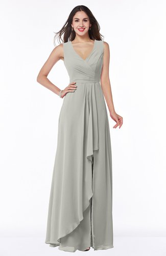 Modest A-line V-neck Zip up Floor Length Ruching Plus Size Bridesmaid Dresses
