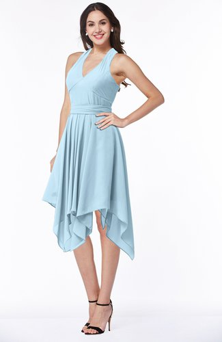 Plain V-neck Sleeveless Half Backless Ribbon Plus Size Bridesmaid Dresses