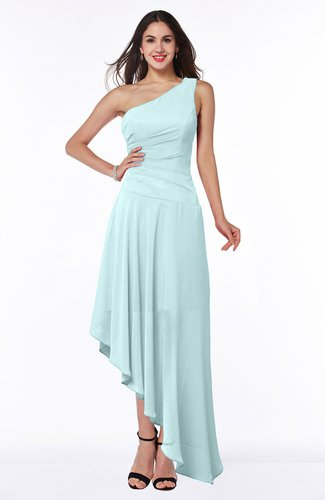 Simple Asymmetric Neckline Sleeveless Half Backless Chiffon Asymmetric Plus Size Bridesmaid Dresses