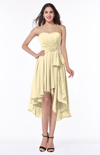Romantic A-line Sleeveless Zip up Hi-Lo Ribbon Plus Size Bridesmaid Dresses