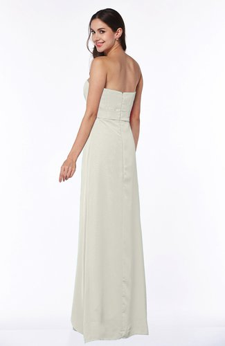 Cream Traditional Strapless Zip up Chiffon Floor Length Plus Size  Bridesmaid Dresses