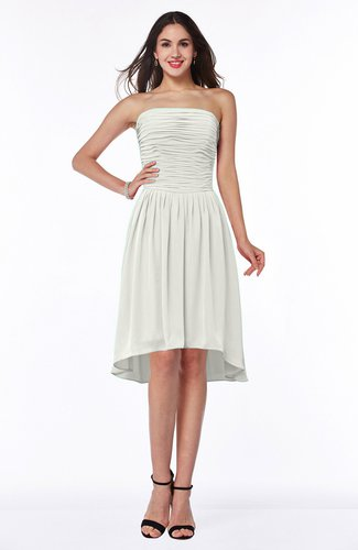 Cute Strapless Sleeveless Zipper Chiffon Hi-Lo Plus Size Bridesmaid Dresses