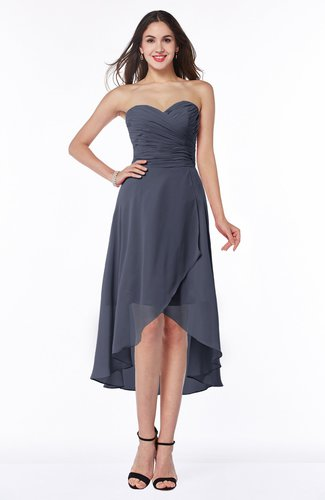 Plain Asymmetric Neckline Sleeveless Chiffon Pleated Plus Size Bridesmaid Dresses