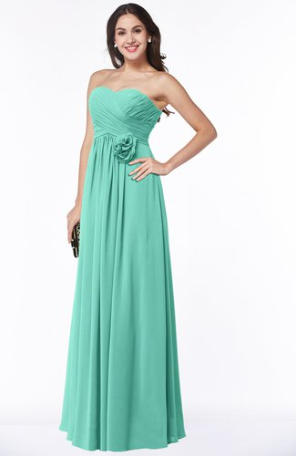 Cute Strapless Sleeveless Chiffon Floor Length Flower Plus Size Bridesmaid Dresses