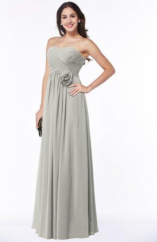 Cute Strapless Sleeveless Chiffon Floor Length Flower Plus Size Bridesmaid Dresses