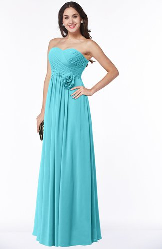 Turquoise Cute Strapless Sleeveless Chiffon Floor Length Flower Plus Size  Bridesmaid Dresses