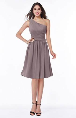 Cute A-line Sleeveless Chiffon Knee Length Plus Size Bridesmaid Dresses