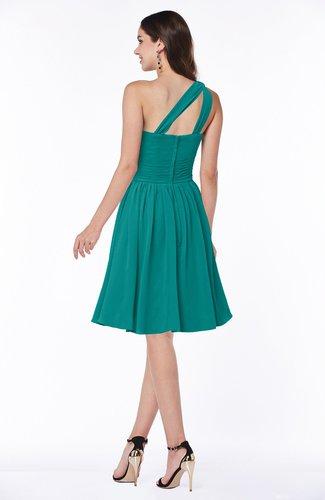 Emerald Green Cute A-line Sleeveless Chiffon Knee Length Plus Size  Bridesmaid Dresses
