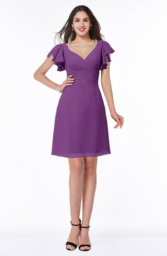 Elegant V-neck Short Sleeve Zipper Chiffon Bridesmaid Dresses