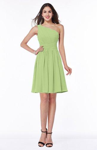 Elegant Asymmetric Neckline Sleeveless Half Backless Chiffon Mini Plus Size Bridesmaid Dresses