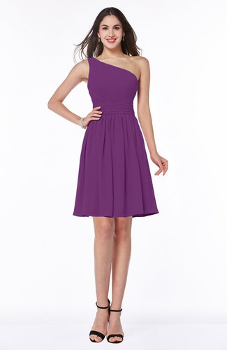Elegant Asymmetric Neckline Sleeveless Half Backless Chiffon Mini Plus Size Bridesmaid Dresses