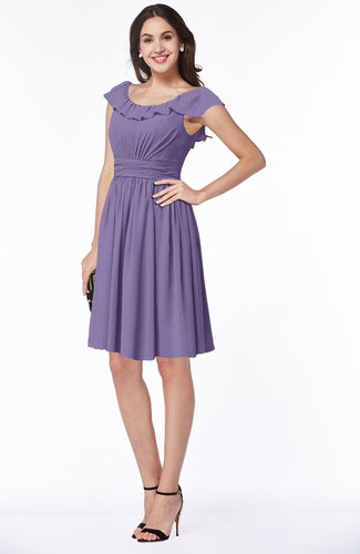 Cute Scoop Short Sleeve Zip up Sash Plus Size Bridesmaid Dresses