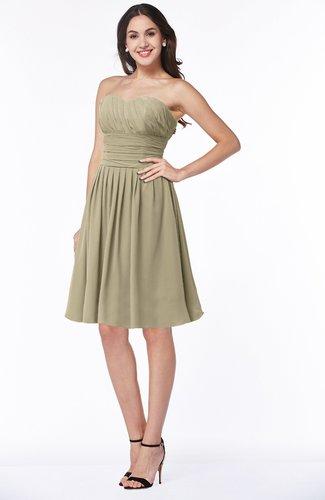 Elegant Strapless Sleeveless Zipper Knee Length Ribbon Bridesmaid Dresses