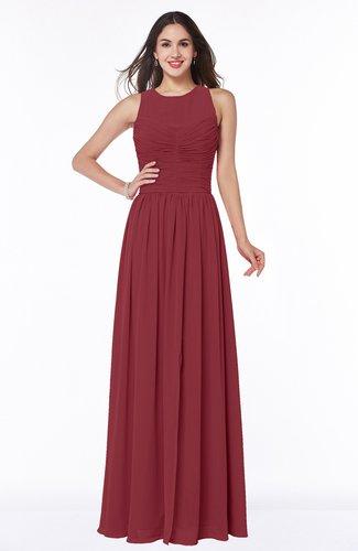 Antique A-line Scoop Zip up Floor Length Plus Size Bridesmaid Dresses