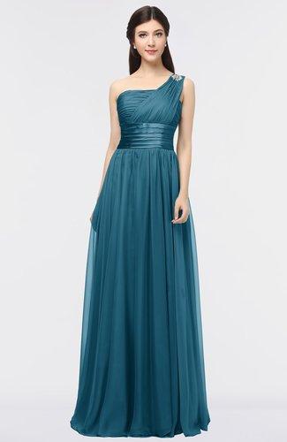 Elegant A-line Zip up Floor Length Ruching Bridesmaid Dresses
