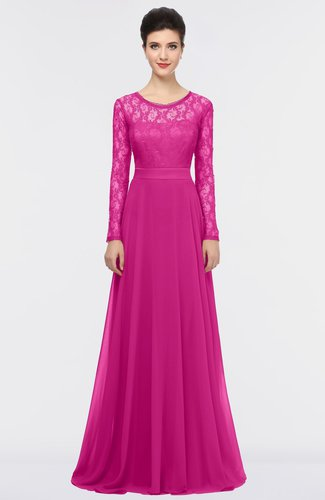 Romantic A-line Scoop Long Sleeve Floor Length Lace Prom Dresses