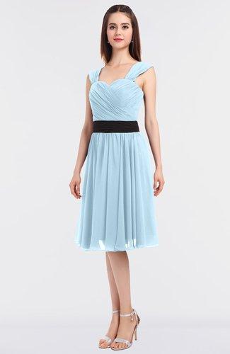 Modern A-line Thick Straps Sleeveless Knee Length Sash Bridesmaid Dresses