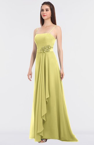Elegant A-line Spaghetti Sleeveless Floor Length Appliques Bridesmaid Dresses