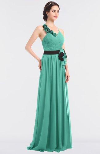 Elegant A-line Halter Sleeveless Zip up Floor Length Bridesmaid Dresses