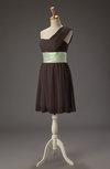Romantic A-line One Shoulder Zip up Short Ribbon Prom Dresses