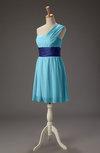 Romantic A-line Asymmetric Neckline Zip up Chiffon Mini Bridesmaid Dresses