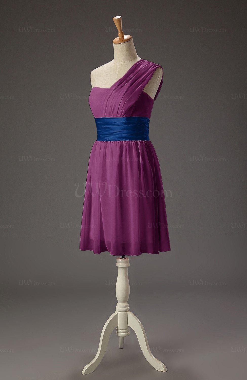 d463fae5ef4 Raspberry Romantic A-line Asymmetric Neckline Sleeveless Chiffon Short  Homecoming Dresses (Style D18672)