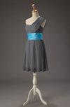 Romantic A-line One Shoulder Sleeveless Chiffon Mini Wedding Guest Dresses