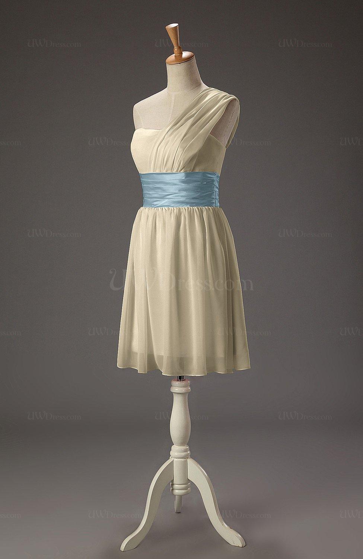 3e5ea6c4d87 Champagne Cute A-line Asymmetric Neckline Chiffon Mini Party Dresses (Style  D41944)