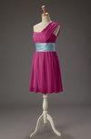 Cute A-line Asymmetric Neckline Chiffon Mini Party Dresses