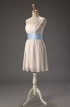 Cute Asymmetric Neckline Zip up Chiffon Sash Bridesmaid Dresses