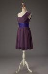 Romantic A-line Asymmetric Neckline Zipper Sash Bridesmaid Dresses