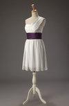 Cute A-line One Shoulder Zipper Chiffon Mini Wedding Guest Dresses