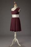 Cute Asymmetric Neckline Sleeveless Zipper Chiffon Ribbon Little Black Dresses