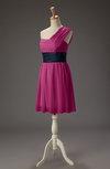 Cute A-line One Shoulder Sleeveless Zip up Chiffon Bridesmaid Dresses