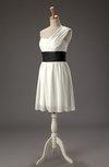 Cute A-line One Shoulder Sleeveless Mini Ribbon Wedding Guest Dresses