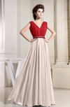 Elegant A-line V-neck Zip up Chiffon Pleated Prom Dresses