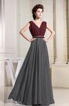 Informal V-neck Sleeveless Zipper Chiffon Pleated Evening Dresses