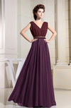 Informal V-neck Sleeveless Zipper Chiffon Pleated Evening Dresses