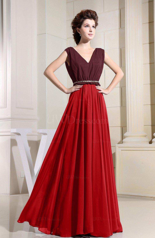 09281b15944f Red Informal V-neck Sleeveless Zipper Chiffon Pleated Evening Dresses  (Style D23899)