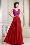Casual A-line V-neck Chiffon Floor Length Pleated Evening Dresses