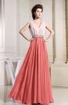 Antique V-neck Sleeveless Zip up Floor Length Bridesmaid Dresses