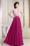 Vintage A-line Sleeveless Zipper Chiffon Evening Dresses