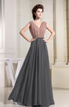 Informal A-line V-neck Floor Length Pleated Bridesmaid Dresses