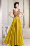 Modest A-line Zip up Chiffon Floor Length Pleated Bridesmaid Dresses